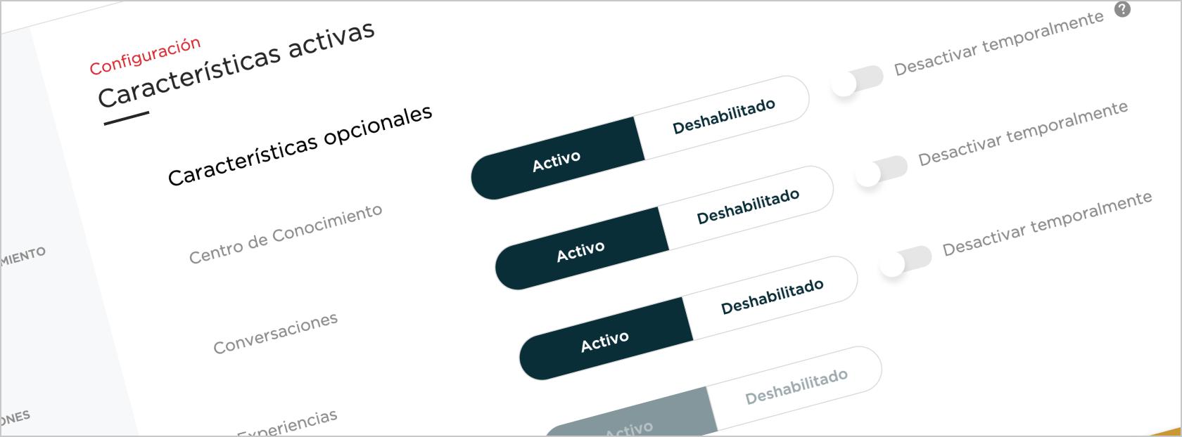 Configuración de características activas