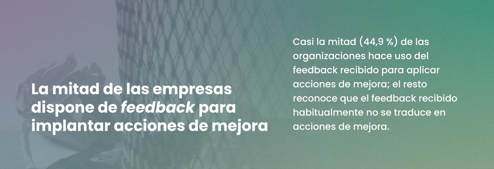 La mitad de las empresas dispone de feedback para implantar acciones de mejora